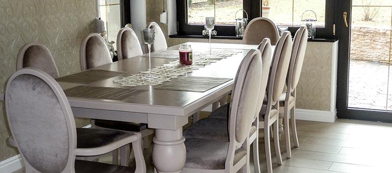 Stoły i krzesła - DrewKol Zakład Stolarski Antoni Tadeusz Kolaja - producent kompleksowego wystroju wnętrza ze szlachetnego drewna oraz materiałów drewnopochodnych